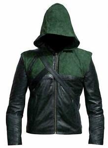 Men Green Arrow Stephen Amel Roy Harper Hooded Genuine Leather Jacket
