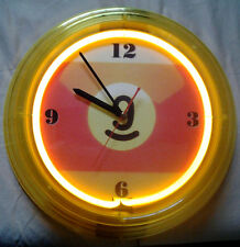 9 Ball Billiards Yellow Neon Clock - Chrome Lighted Wall Art Sign