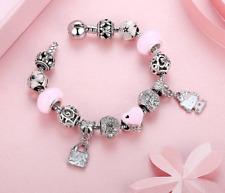 Hello Kitty Cœur Rose Émail Fleurs Charms enfants filles bracelet cadeau d'anniversaire