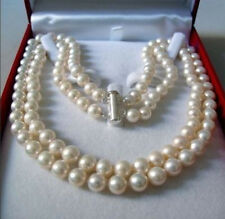 """2 Rows 8-9MM WHITE AKOYA SALTWATER PEARL NECKLACE 17-18"""""""