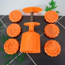Cartoon Moon Cake Pastry Mold Hand Pressure 50g Round 6 stamps DIY Tool (Orange)