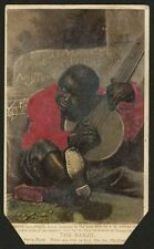 African American Child Playing the Banjo, Vintage Print, 6x4 inch Repro 1865