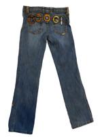 COOGI Womens Straight Leg Jeans Blue Medium Wash Stretch Embroidery Juniors 9/10