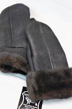 REAL GENUINE SHEEPSKIN SHEARLING LEATHER MITTENS UNISEX BLACK / DARK BROWN S-2XL