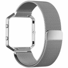 For Fitbit Blaze Bands Milanese Loop Stainless Steel with Frame SilverLarge