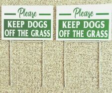 2 signs 2 steel stands Please Keep Dogs Off The Grass 12� X 8� Green/white
