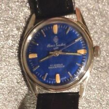 Vintage mens Henri Sandoz mechanical wristwatch running