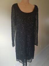Ladies NEXT Black SEQUIN party DRESS size 12 Fitted sexy