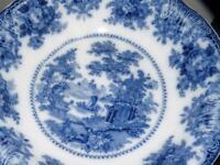 """ANTIQUE FLOW BLUE VEGETABLE BOWL FAIRY VILLAS BY ADAMS 10,25""""D"""