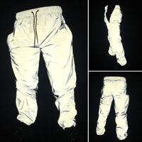 Men Women Drawstring Harem Pants Trouser Reflective Hip Hop Casual Sports Dance