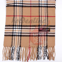 Men Women unisex 100% CASHMERE Tartan Stripe Plaid Wool Camel Wrap Scarf