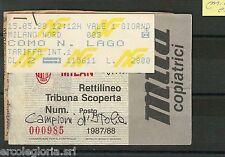 59725  - Vecchio  BIGLIETTO PARTITA CALCIO - 1987 / 1988 : MILAN /  COMO