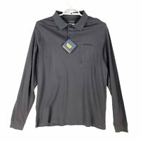 Roundtree & York Mens Polo Shirt Gray Silky Cotton Golf Long Sleeve Tall L New
