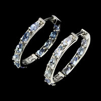Unheated Pear Blue Tanzanite 6x4mm Natural 925 Sterling Silver Hoop Earrings