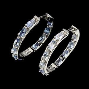 Unheated Pear Blue Tanzanite 6x4mm Natural 925 Sterling Silver Hoop Earrings