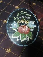 Folk Art Painting Wood Primitive Signed Original Flowers Vintage PA Rosemaling?