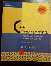 C++ Programming From Problem Analysis to Program Design by D. S. Malik 2004 PB