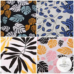 """100% Printed Cotton Linen, Floral Leaves, Tropical, Large Print,High Quality 59"""""""