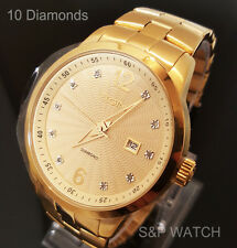 New Mens Elgin Luxury Elegant Gold 10 Genuine Diamonds Dress Analog Round Watch