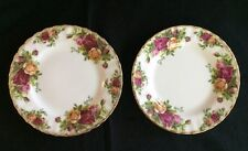 "Set of 2 Royal Albert Old Country Roses 6-1/4"" Bread & Butter Plates Fluted Gold"