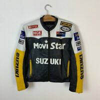 90s Vintage Women's Suzuki Movistar Racing F1 Motorcycle Leather Jacket Size M