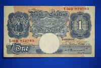 "1940 British Bank of England £1, Banknote, Peppiatt Prefix ""T56D"" [20444]"