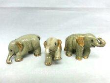 Elephant Lucky Figurine Miniature Ceramic Gold Trim Trunk Home Decor Animal Gift