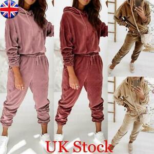 UK Womens Velvet Tracksuit Loungewear Casual Hooded Hoodie Tops Suit Pants Set