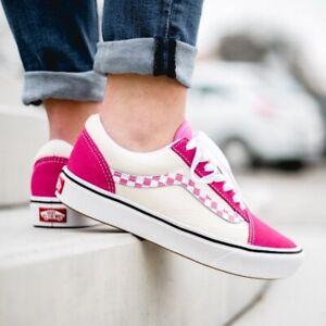 NEW Vans Comfycush Old Skool Side stripe Check Suede Sneakers Sz 9.5 Womens Pink