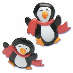 Christmas Cake Toppers Penguin Cupcake Rings with Red and Green Scarves
