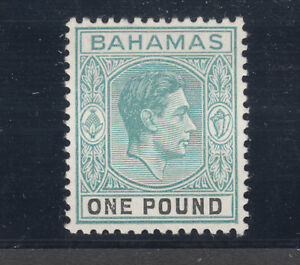 Bahamas Sc 113a MLH. 1938 £1 KGV on thick, chalky paper, fresh, sound