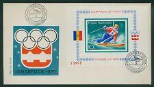 Rumänien 1976 Mi.Block 129 FDC Olympische Winterspiele Innsbruck,Alpiner Skilauf