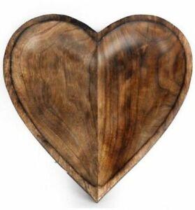 Pretty Rustic Natural wooden Heart Tray Decorative Serving Tea Tray bowl