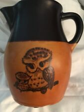 Roseville Pitcher Stoneware Brown Sienna Pitcher Owl & Baby Owl USA Ohio Pottery