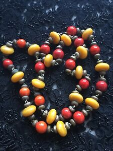 """Ethnic Vintage Tibetan Necklace Faux Amber Coral 36"""" Colourful Chunky Costume"""