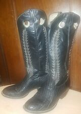 Vintage COWTOWN Tall Black Leather Embossed Western Stitch Cowboy Boots Sz 9 D