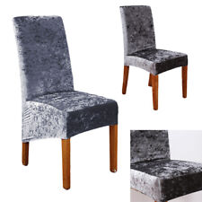 Crushed Velvet Dining Chair Covers Stretchable Protective Slipcover Decor Grey