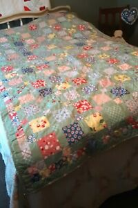 """Reproduction Feedsack Quilt, Twin Size, 52"""" x 80"""", Machine Pieced and Quilted"""