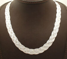 """18"""" Reversible 5 Row Woven Herringbone Chain Necklace Real Sterling Silver 925"""