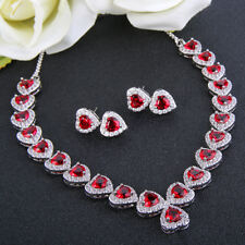 Bridal Chain Heart Red Cubic Zirconia Necklace Earrings Set Silver Tone Party