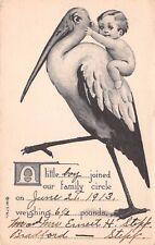 Vintage Baby Boy Announcement Riding Stork 1913 - Taylor Platt Co NY