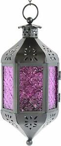 Nice Purple Moroccan Style Candle Lantern Light Glass Decor Hanging Lamp Exotic