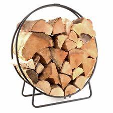 Manor 2002 Log Circle Fireside Fireplace Log Wood Storage Tray Holder Black