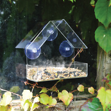 2 x Glass Window Bird Feeder Table Seed Peanut Hanging Suction Clear Viewing