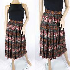 Vintage St Michael Floral Print Midi Pleated Tailored Aubergine Skirt Size 10/12