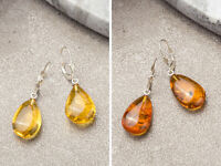 Earrings made of Natural Baltic Amber & Sterling Silver 925 Closure, Drop shape