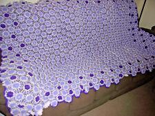 """Crocheted AFGHAN Throw Blanket PURPLE 3D Raised Flowers 48"""" X 80"""""""