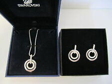 Swarovski Circle Pendant and Earrings - Rhodium-Plated