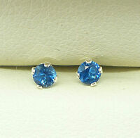 925 STERLING SILVER STUD EARRINGS ROUND 3mm SAPPHIRE BLUE CREATED STONE sk1077