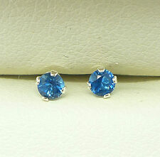 Sapphire Blue 925 Sterling Silver Stud Earrings Round 3mm Created Stone Sk1077